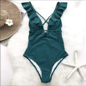 🆕Teal Green Ruffle One Piece Swimsuit▪️S/M/L